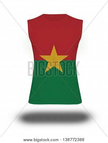Athletic Sleeveless Shirt With Burkina Faso Flag On White Background And Shadow