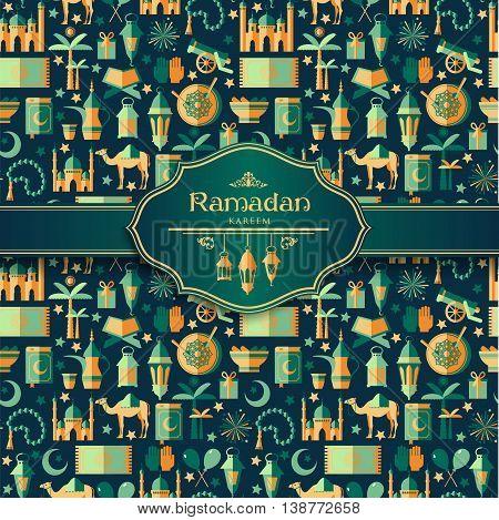 Ramadan Kareem Icons Set Of Arabian.
