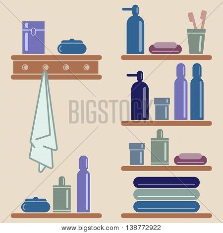 Vector illustration. Toothpaste and toothbrush razor and lotion. Grouped for easy editing.