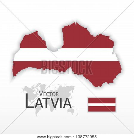 Latvia ( Republic of Latvia ) ( flag and map ) ( transportation and tourism concept )