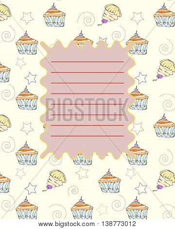 School notebook cover postcard invitation sample with hand drawn party cupcakes