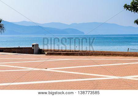 Toscana  maremma coastline with hills and blue sky