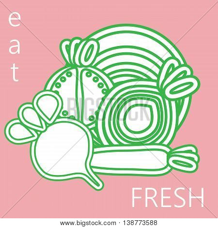 Vegetables outlines - beetroot cabbage carrot onion and tomato - stylized vectro illustration with words