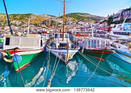 traditional boats at Hydra island Saronic Gulf Greece