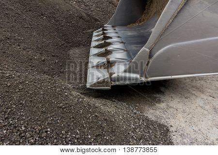 Excavator Shovel Closeup , Bulldozer , Sand Macro