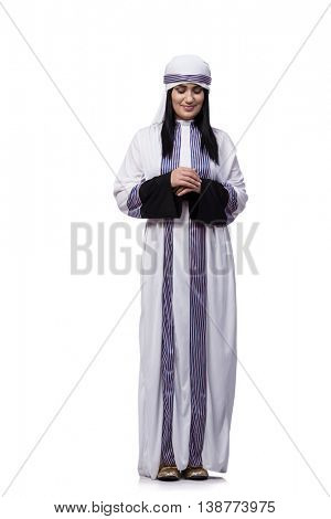 Arabian woman isolated on the white background