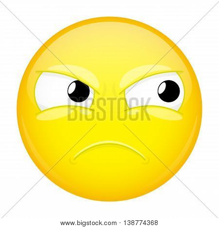 Sad emoji. Bad emotion. Hurt emoticon. Vector illustration smile icon.