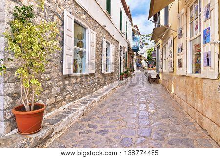 HYDRA ISLAND GREECE, MAY 27 2016: traditional souvenir shops at Hydra island Saronic Gulf Greece . Editorial use.