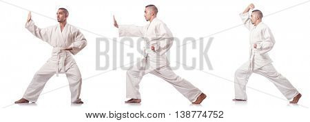 Collage of karate player in kimono isolated on white