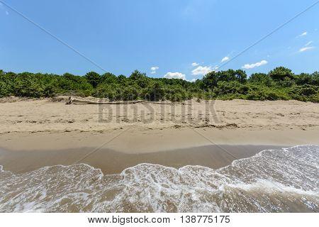 Empty Tuscany maremma beach with blue sky