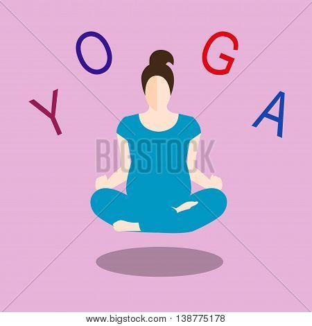 Pregnant yoga Vector illustration Pregnant woman in yoga pose of Lotus Flat design