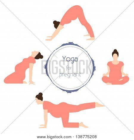 Pregnant yoga Vector illustration Yoga for pregnant women Different poses prenatal yoga Flat design
