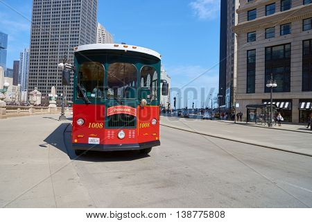 CHICAGO, IL - CIRCA MARCH, 2016: Chicago Trolley at Chicago downtown in the daytime. Chicago is the third most populous city in the United States.