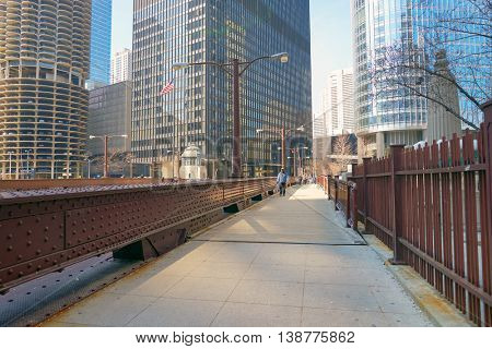 CHICAGO, IL - CIRCA MARCH, 2016: view of the bridge in Chicago downtown in the daytime. Chicago is the third most populous city in the United States.