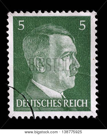 ZAGREB, CROATIA - JUNE 22: A stamp printed in Germany shows image of Adolf Hitler, series, 1941, on June 22, 2014, Zagreb, Croatia