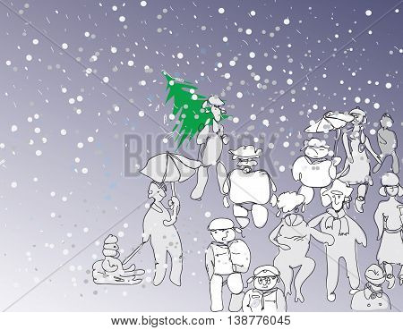 Illustration in doodle style of people in winter clothes walking under a snowfall