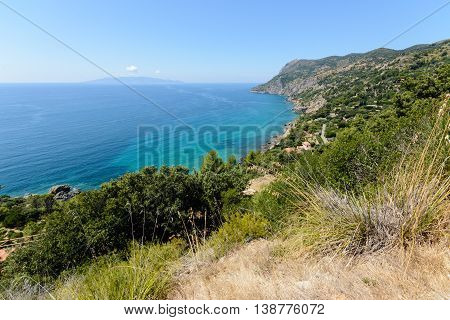 Tuscany coastline in summer with blue sky