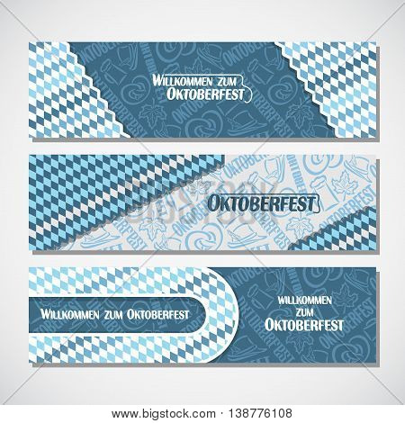 Vector horizontal banners bavarian pattern flag oktoberfest. On Background blue rhombus ticket invitation - symbols Oktoberfest: mug beer, pretzel, hat, leaf. Flyer bavaria fest, web panoramic header