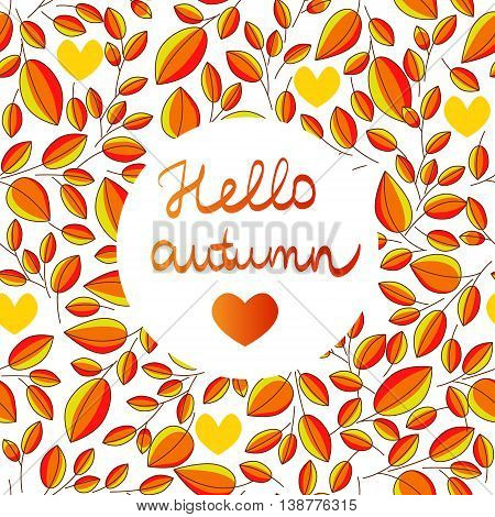 autumn seamless pattern withs hand written lettering HELLO AUTUMN and leaves
