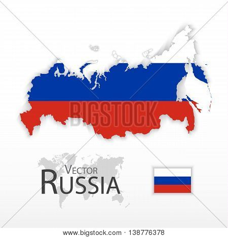 Russia ( the Russian Federation ) ( flag and map ) ( transportation and tourism concept )