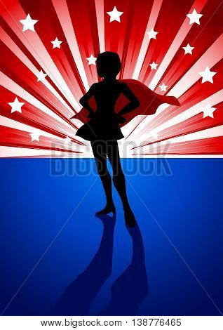 Silhouette illustration of a super heroine standing in front of light burst