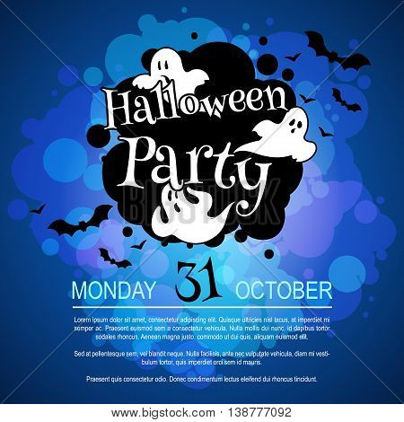 Flyer with ghosts for Halloween party. Vector template invitation in dark tones.