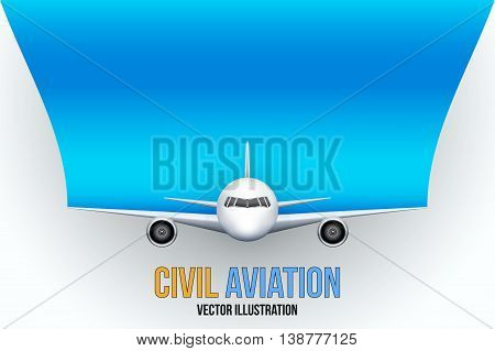 Front view of Civil Aircraft with space for text. Public or private plane. For business and travel design. Vector Illustration isolated on background.