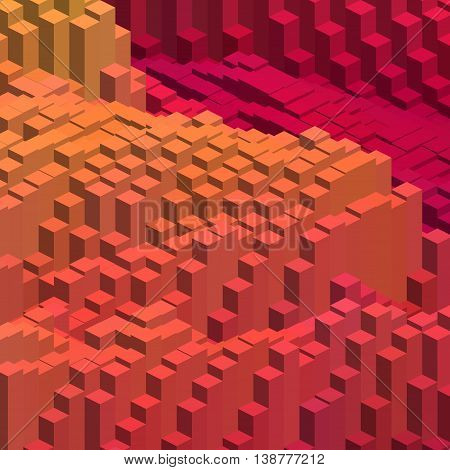 Abstract background with 3d cubes. Vector cube box for business concepts.Orange red colors.