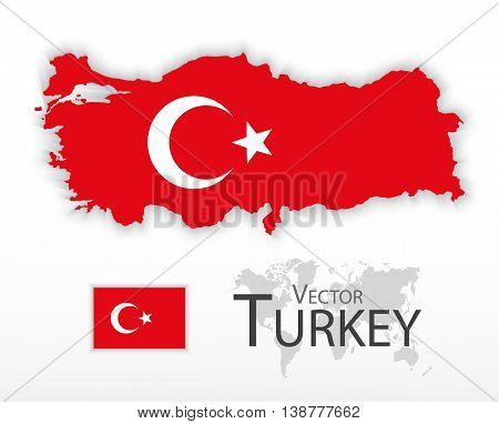 Turkey ( Republic of Turkey ) ( flag and map ) ( transportation and tourism concept )