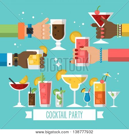 Cocktail alcohol party concept for web and graphic design. Hands holding cocktail drinks