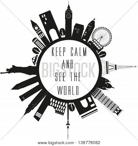 Travel globe in black and white with quote.