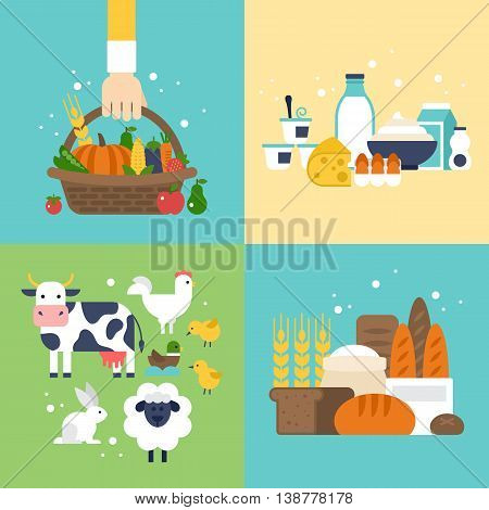 Farm vegetables dairy products bread and animals icons set. Harvest agriculture and natural organic farm icons for graphic and web design