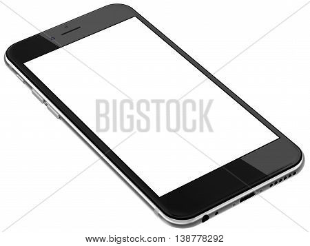 Black smartphones with blank screen, isolated on white background - high detailed realistic illustration. 3d rendering.