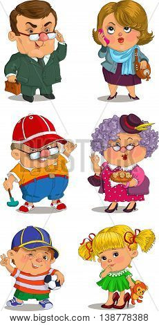 Funny cartoon. Vector illustration. Set of family members.Grandmother, grandfather, father, mother, son, daughter. Positive characters.