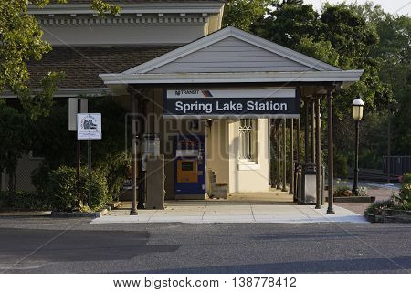 Spring Lake NJ USA June 21 2014 A Small town train station along the Jersey Shore