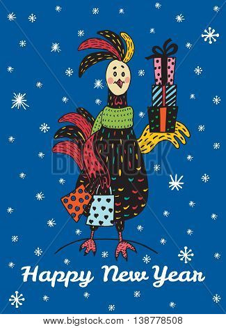 2017 Happy New Year greeting card with hand drawn Rooster with gift shopping. Vector hand drawn illustration of Rooster on dark blue background.