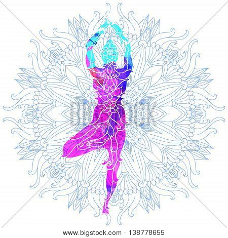girl in yoga pose over ornate round mandala pattern. Yoga concept. Decorative design for cover, t-shirt, hippie poster, flyer. Astrology, sacred geometry. Psychedelic hypnotic colors.