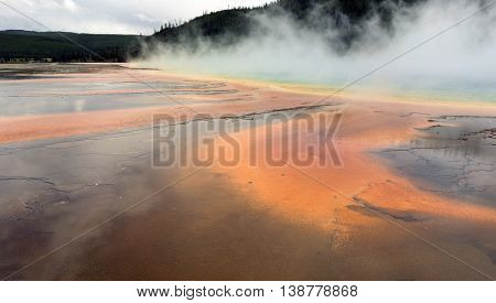 Mineral Water Grand Prismatic Spring Midway Geyser Basin Yellowstone