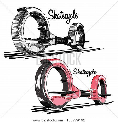 Vector illustration of set Hand drawn Skate cycle, Balancing Scooter, Two-wheeled motorized personal vehicle consisting of a platform for the feet.