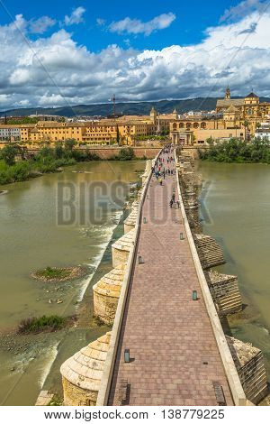 Aerial view from Calahorra Tower, a fortress of Islamic origin, of Cordoba skyline, Andalusian city, Spain.
