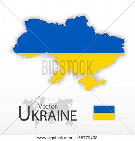 Ukraine ( flag and map ) ( transportation and tourism concept )