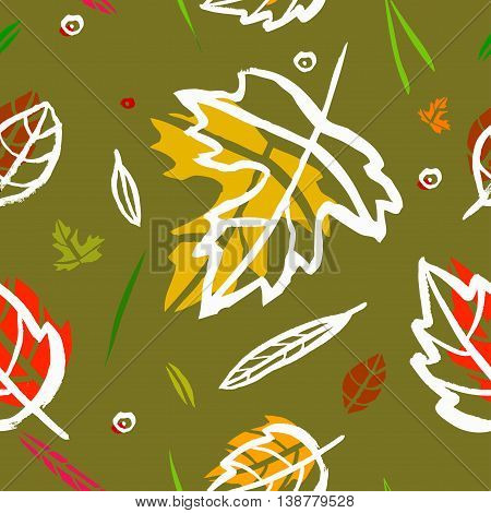 Vector seamless pattern with leaf berries blades of grass autumn elements and templates on a green background. autumn hipster background. Bright pattern. Autumn template
