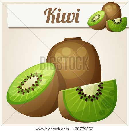 Kiwi. Vector Icon. Series of food and drink