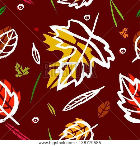 Vector seamless pattern with leaf berries blades of grass autumn elements and templates on burgundy color background. autumn hipster background. Bright pattern. Autumn template.