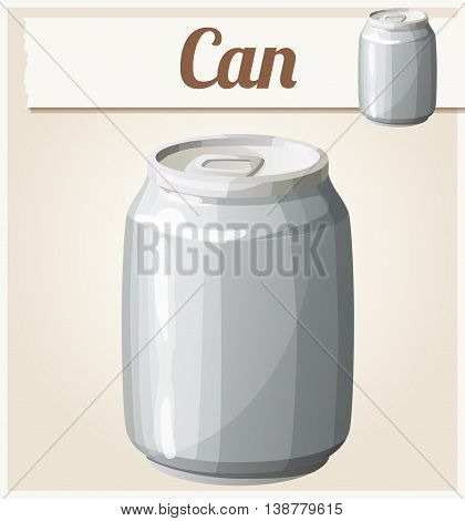 Empty can without label. Detailed vector icon. Series of food and drink and ingredients for cooking.