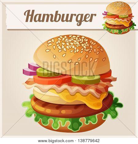 Hamburger. Food vector icon. Fast food illustration