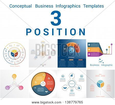 Set Vector Templates Infographics Business Conceptual Cyclic Processes for Three Positions Text Area Possible to use for Workflow Banner Diagram Web Design Timeline Area Chart