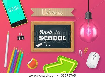 Chalkboard and objects realistic vector illustration. Back to school concept. Website banner design. Desk top view