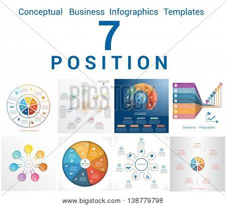 Set Vector Templates Infographics Business Conceptual Cyclic Processes for Seven Positions Text Area Possible to use for Workflow Banner Diagram Web Design Timeline Area Chart