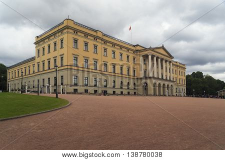 OSLO, NORWAY - JULY 1, 2016: This is the Royal Palace on the square Slottsplassen.